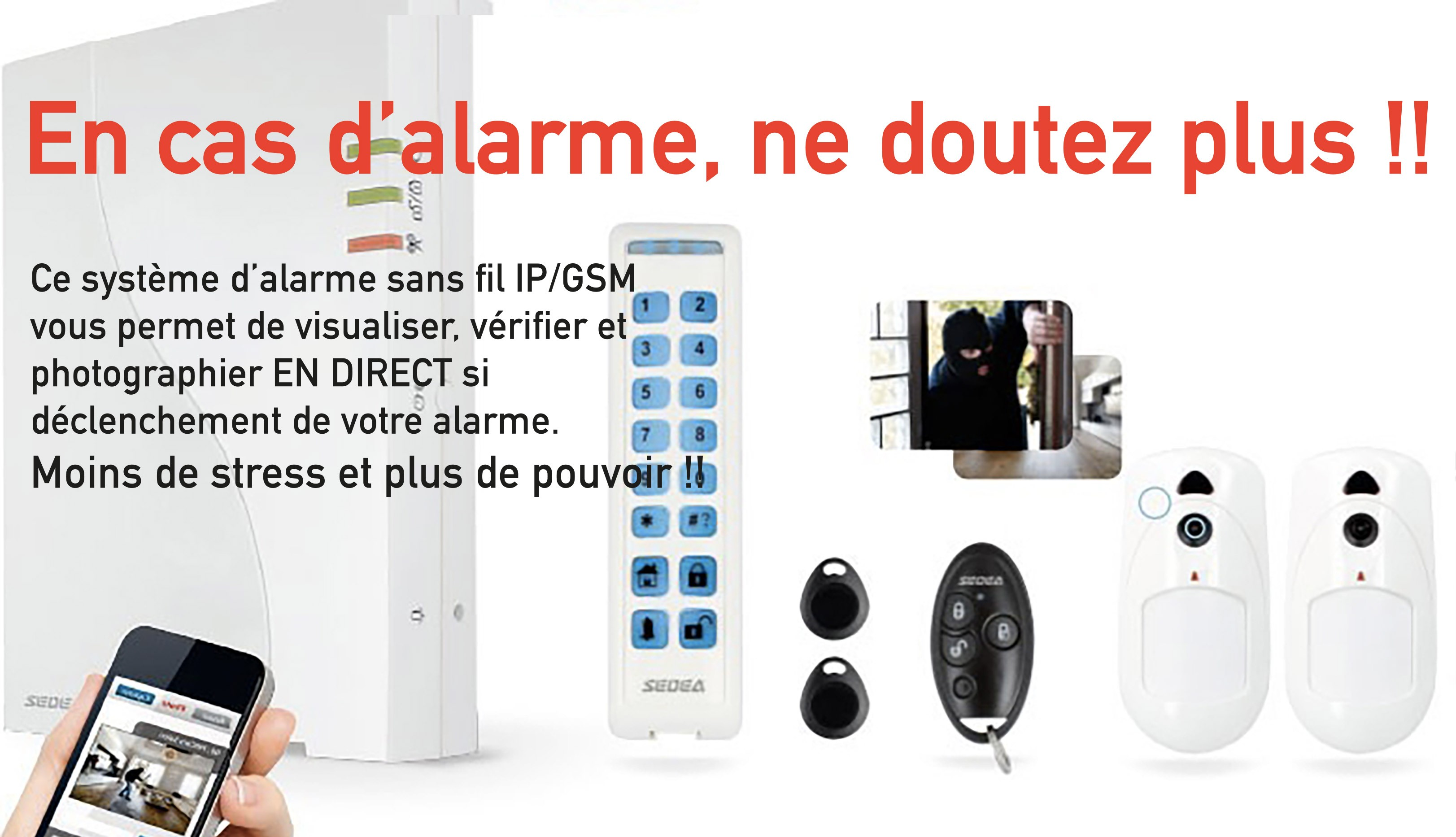 KIT ALARME RADIO S3 visualisation et photos à distance en temps réel
